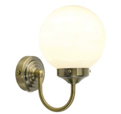 Barc bathroom wall light in antique brass
